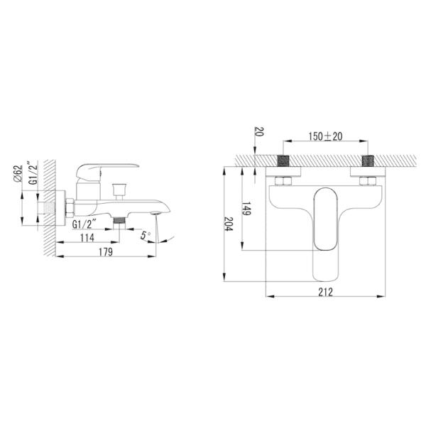 Freya BF23431PX Technical Drawing