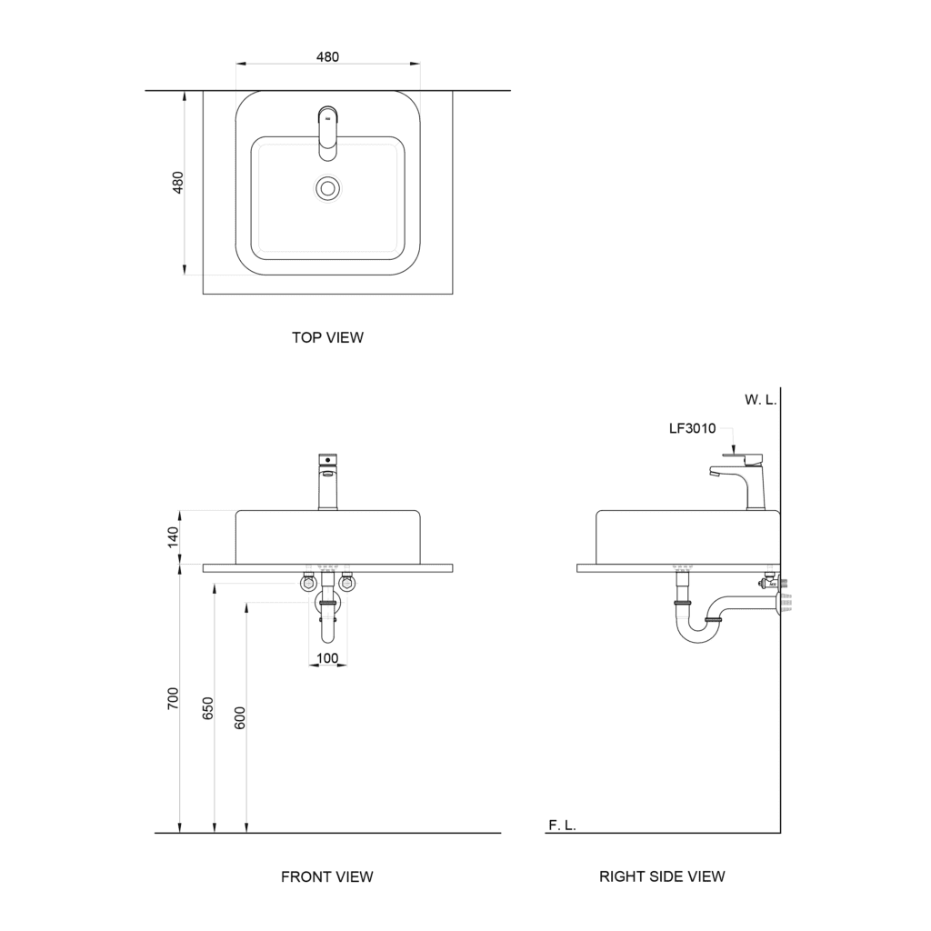 HCG Phoebe L4620ANS AW Technical Drawing