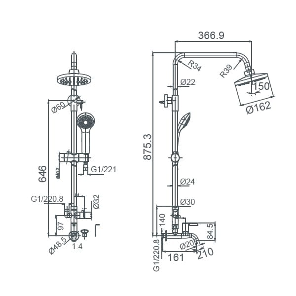 HCG Raven BF021PX NC Technical Drawing