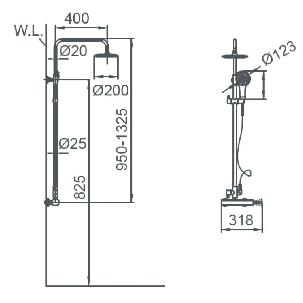 HCG F7 BF7001PX NC Technical Drawing