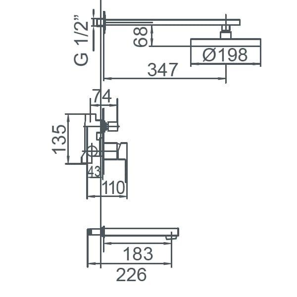 HCG F7 BF7002PX NC Technical Drawing
