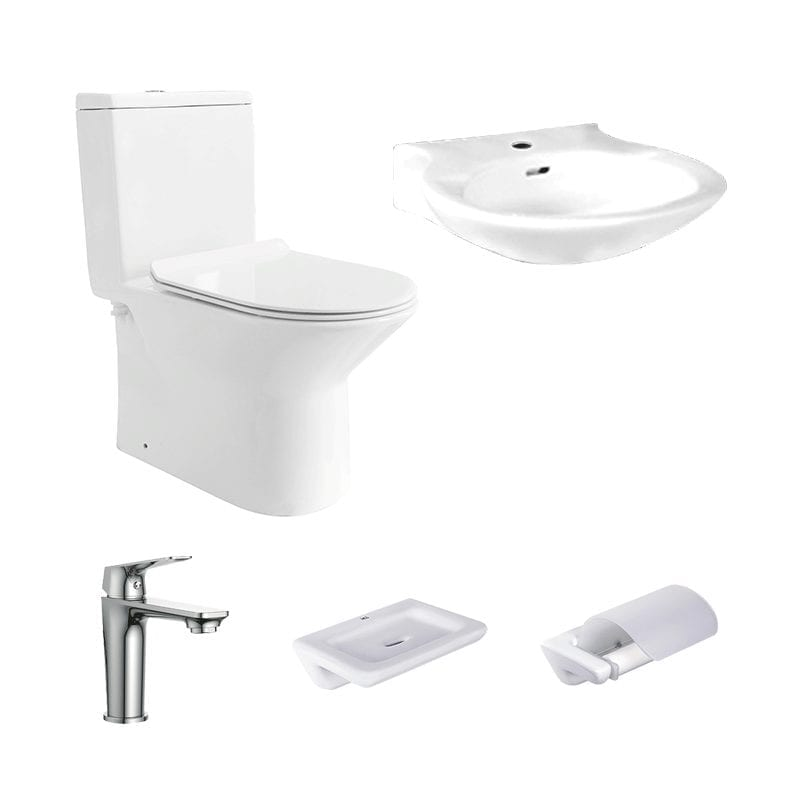 HCG bathroom Package, a set of toilet, lavatory, faucet, soap dish, and paper holder.