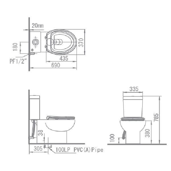 HCG Osiris CS402B 2 piece toilet technical drawing