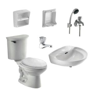 HCG bathroom Package, a set of toilet, lavatory, faucet, soap dish, paper holder, and shower set.