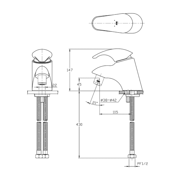 Greefau CLF3213 ceramic faucet technical drawing