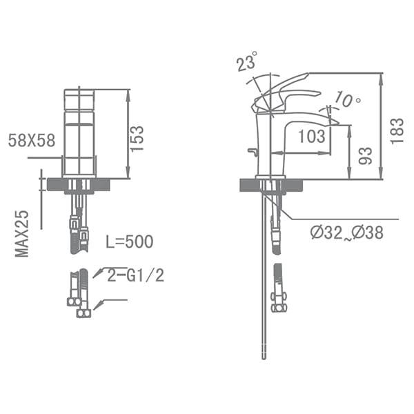 HCG Othello LF0901PX NC Wash Basin Mixing Faucet