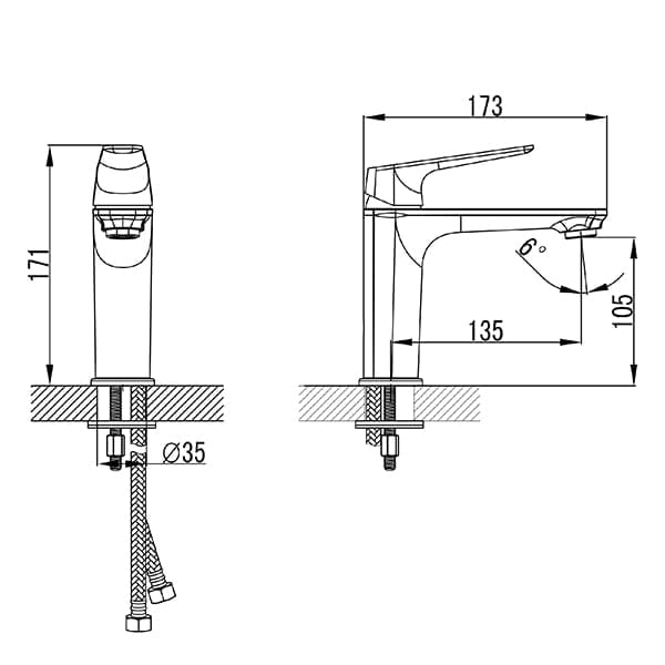 HCG Freya LF16481PX NC Wash Basin Mixing Faucet