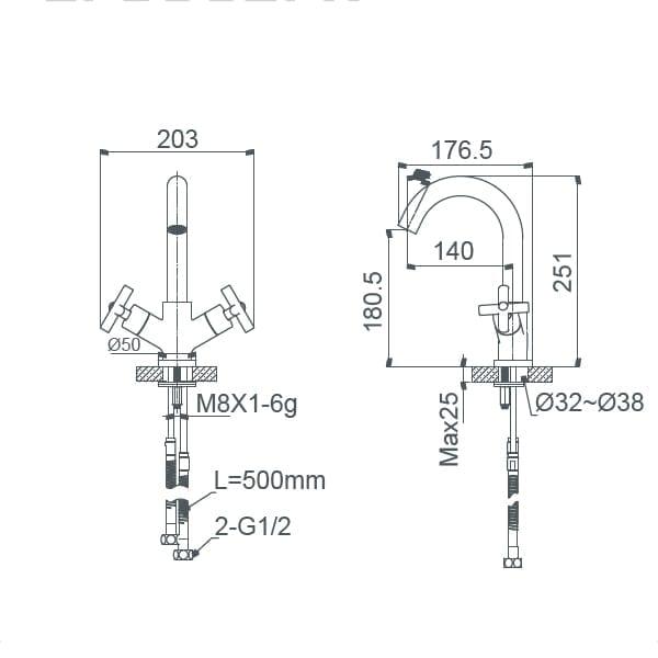 HCG Babylon LF3002PX NC Technical Drawing
