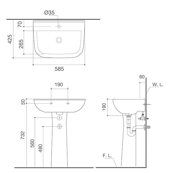 HCG Alea LF70L AG Technical Drawing