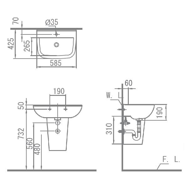 HCG Alea LF70S AG Technical Drawing