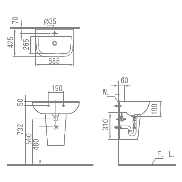HCG Alea LF70S Al Technical Drawing