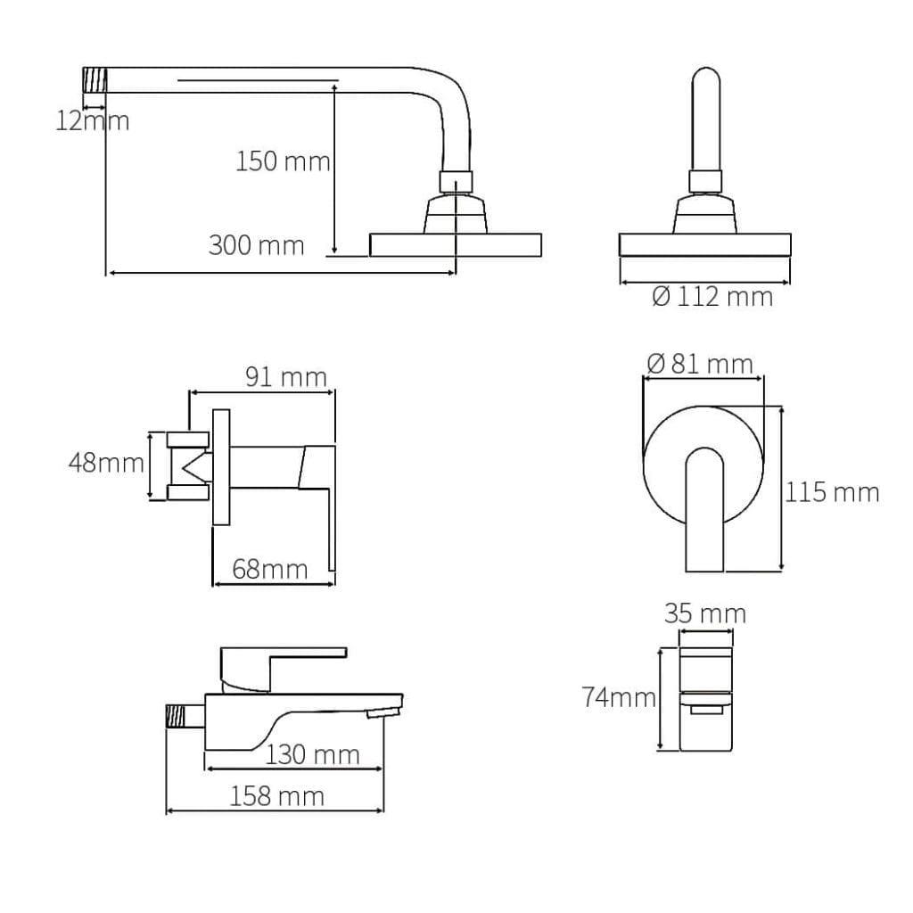 HCG Vita BF3221 Technical Drawing