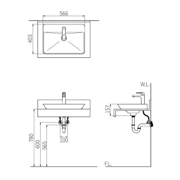 HCG Verge Lavatory L33S AW Technical Drawing