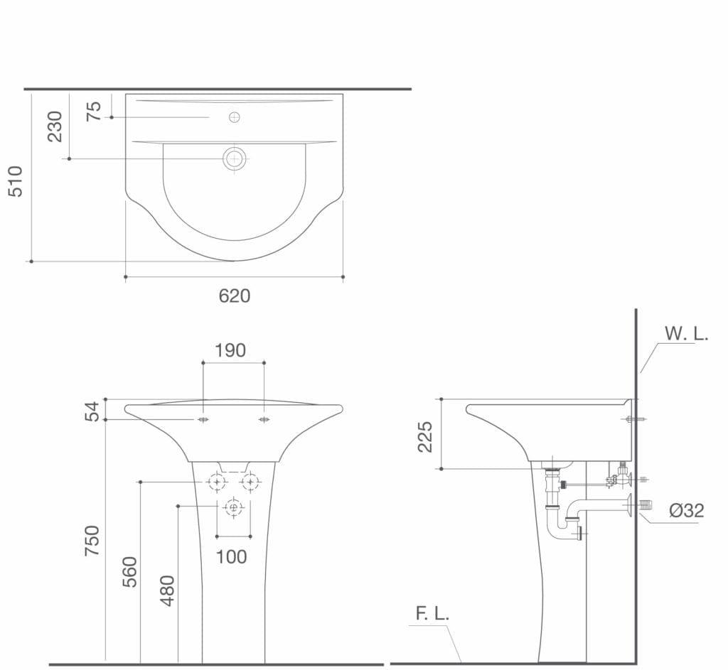 HCG U2 LF352P Wash Basin Technical Drawing