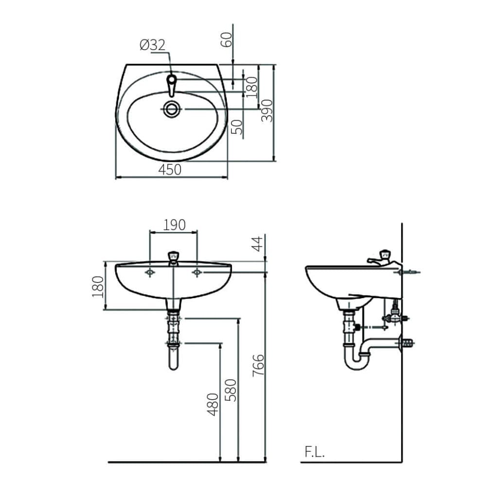 Eden L59 wash basin Technical Drawing