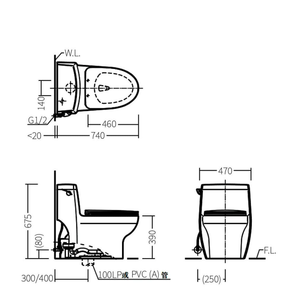 HCG C660NT AW Technical Drawing