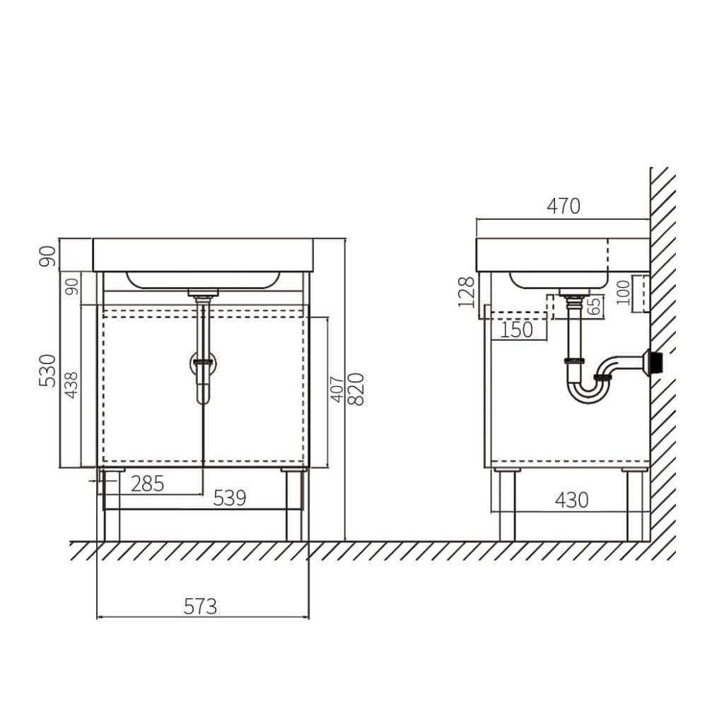 HCG Osiris LCA6053 DK Vanity Cabinet Technical Drawing
