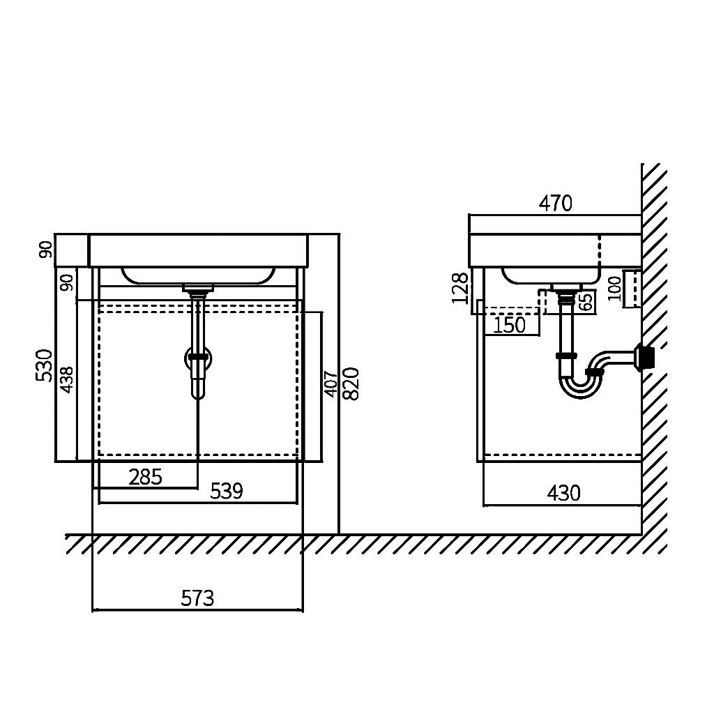 HCG Osiris LCA6053WH DK Vanity Cabinet Technical drawing