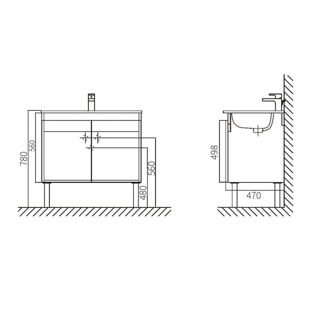 HCG Hilton LCA8056 DK Lavatory Cabinet Technical Drawing