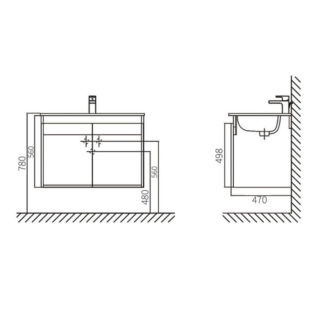 HCG Hilton LCA8056WH DK Wall Hung Lavatory Cabinet Technical Drawing