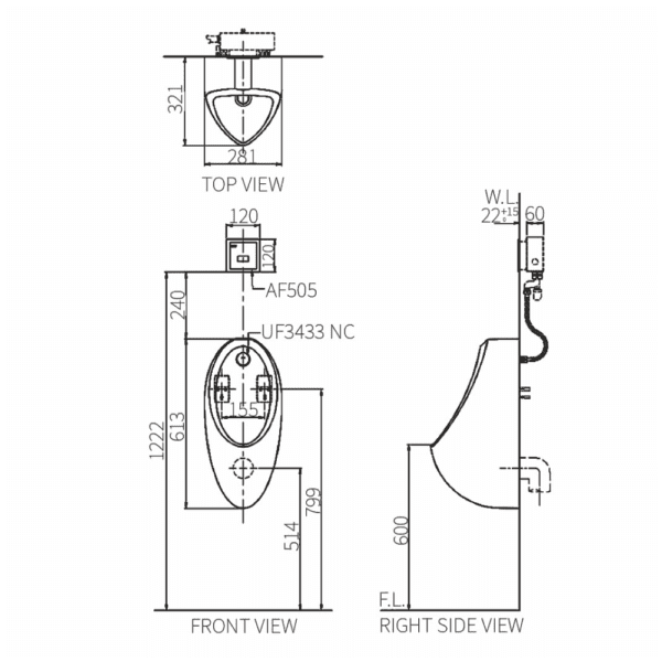Erin U8826BF Urinal Technical Drawing