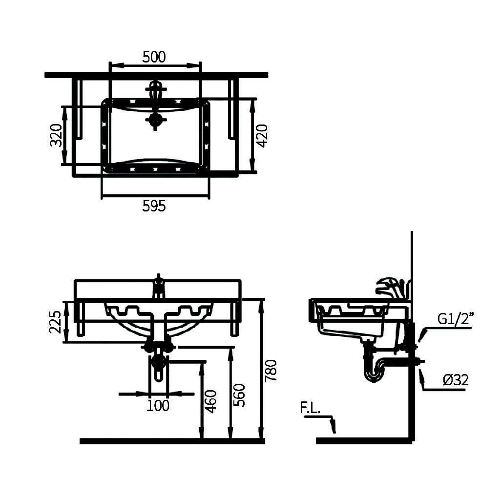 Sulis L4057 Undercounter Lavabo Technical Drawing