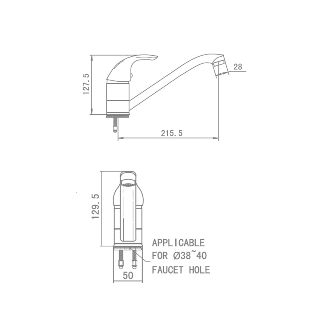 hcg_kf3000px-ncc_kitchen faucet Technical Drawing