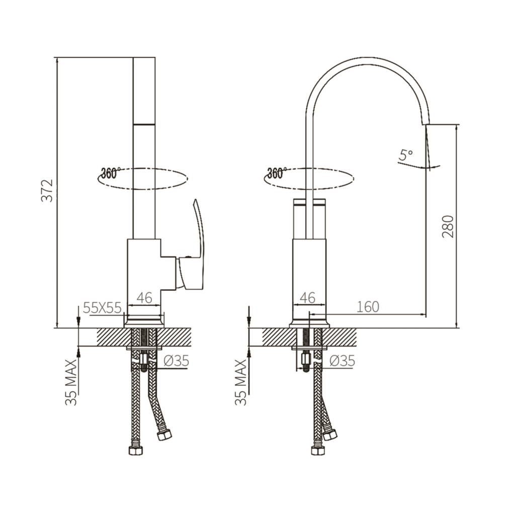 HCG KF6000pxnc Kitchen Faucet Technical drawing