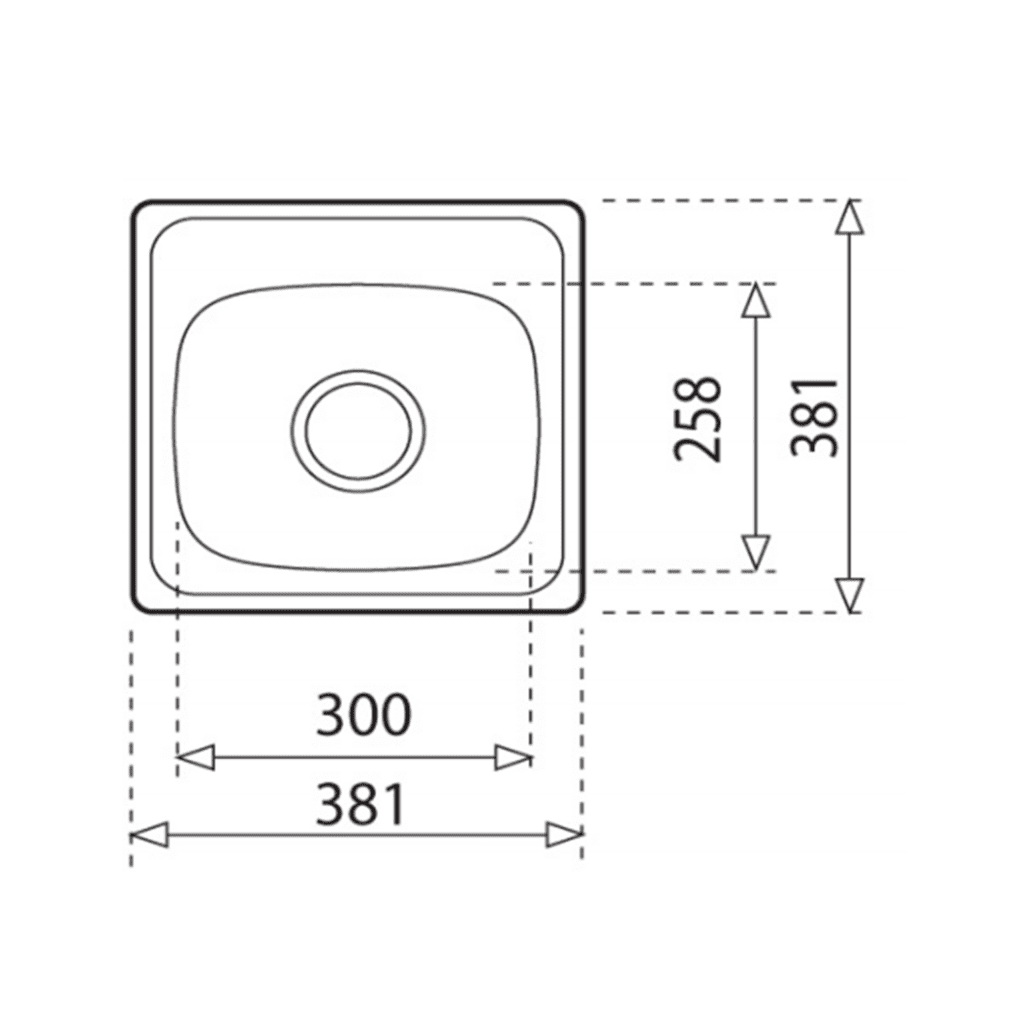 HCG YH224c NC Square Kitchen Sink Technical Drawing