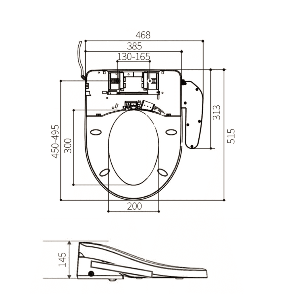 HCG AF2600 Auto Bidet Seat and Cover Technical Drawing