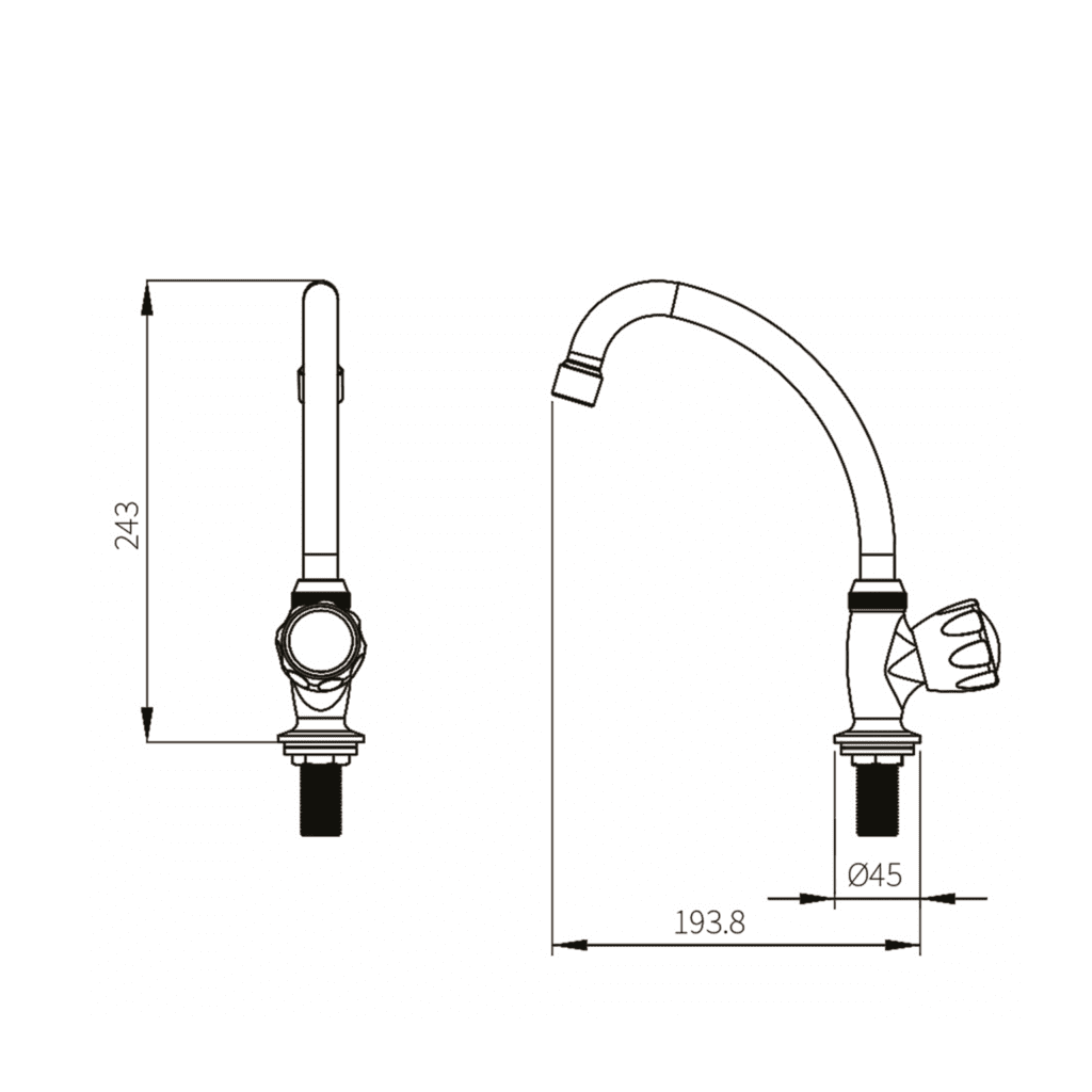HCG KF3511PX-nc Arch Kitchen Mixing Faucet Technical Drawing