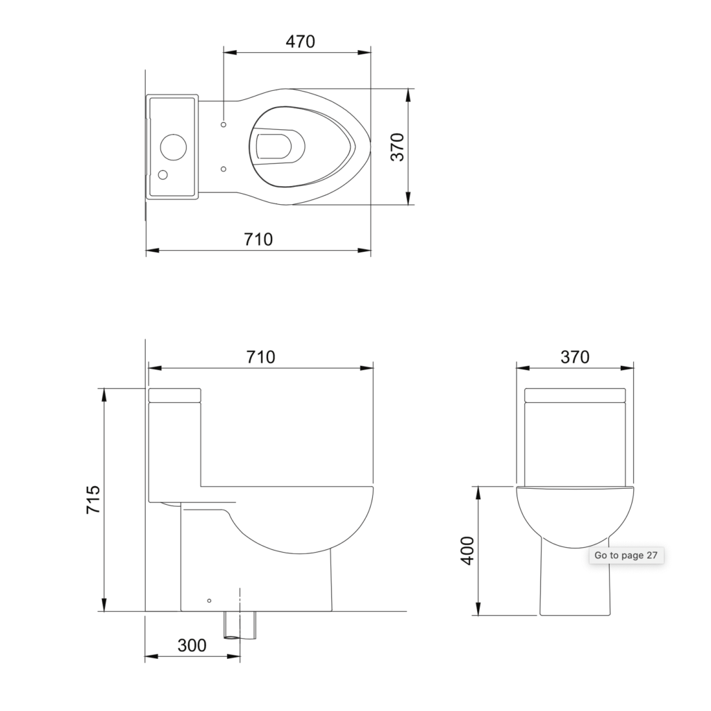 Osiris C403 one piece toilet technical drawing