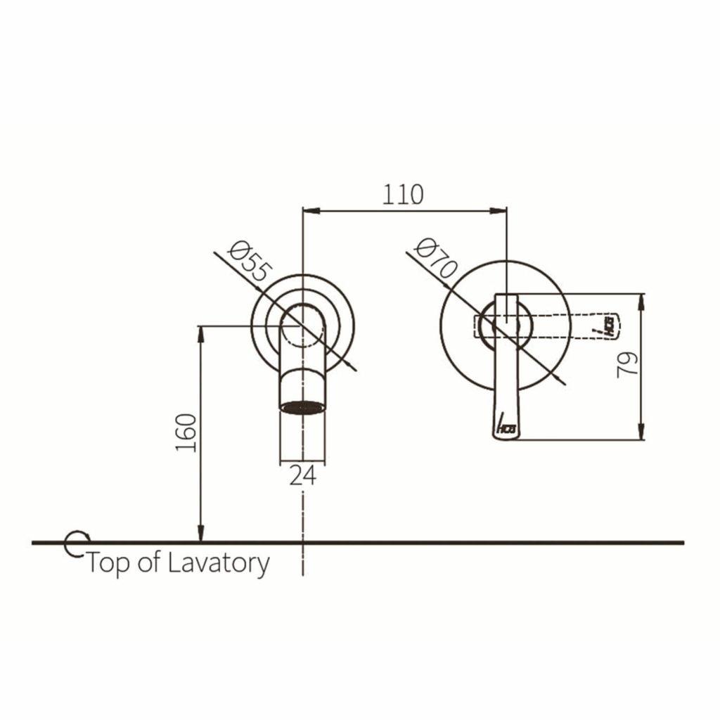 HCG LF618PX Wall Basin Faucet