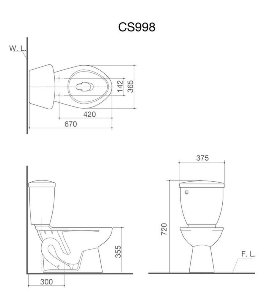 HCG CS998PB AW Coupled Water Closet Technical Drawing