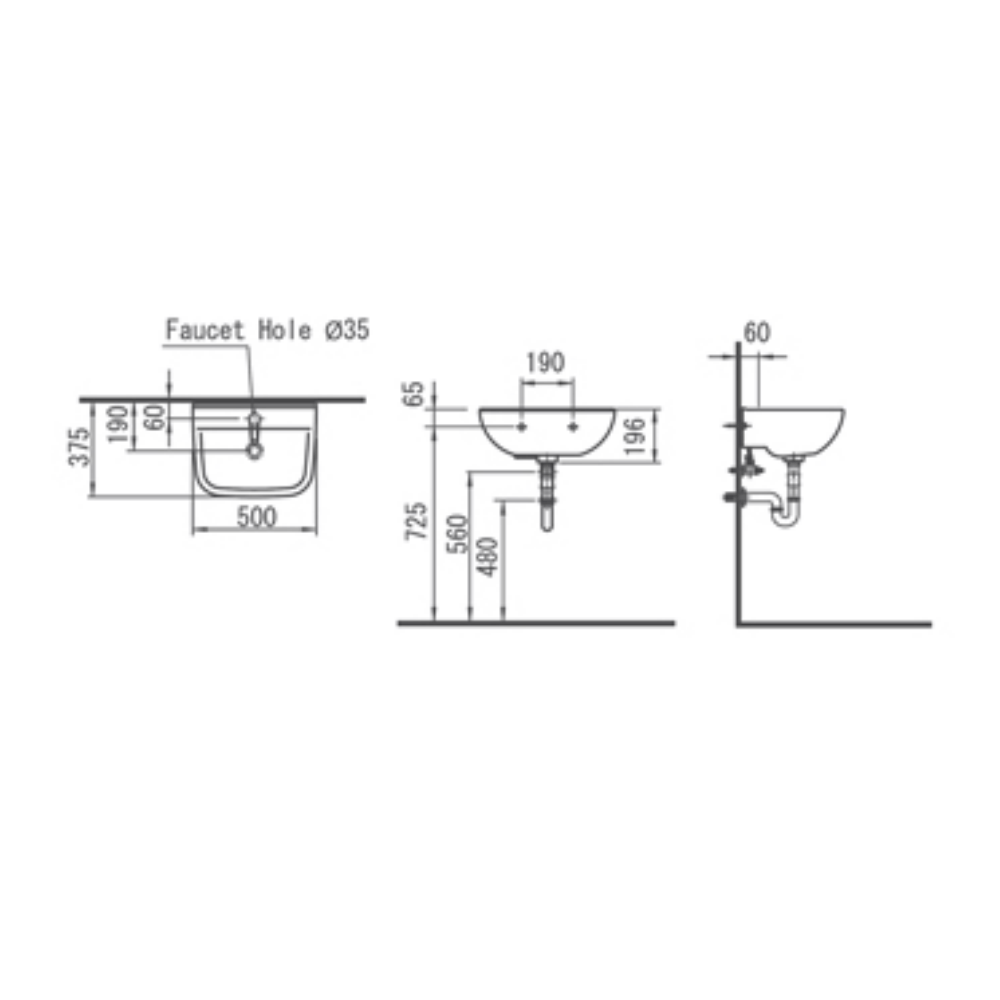 HCG Titan L60s(35mm) wash basin Technical drawing