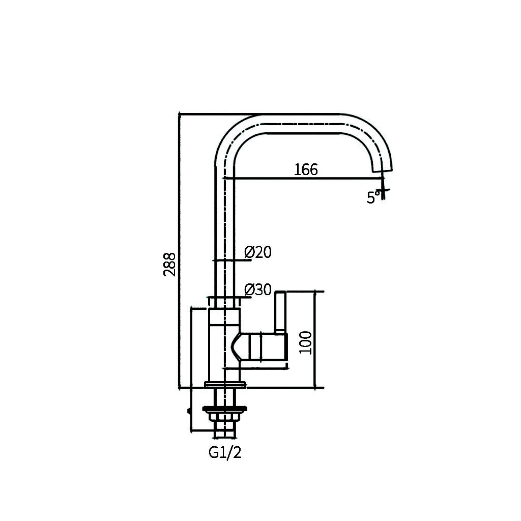 HCG KF010PX Kitchen Tap technical drawing