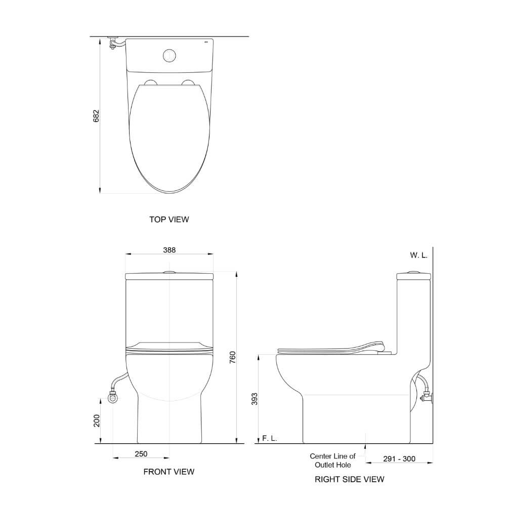 Attiva C333H toilet technical drawing