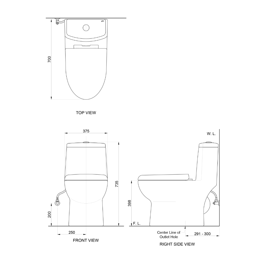 Attiva C3703H AW one piece toilet technical drawing