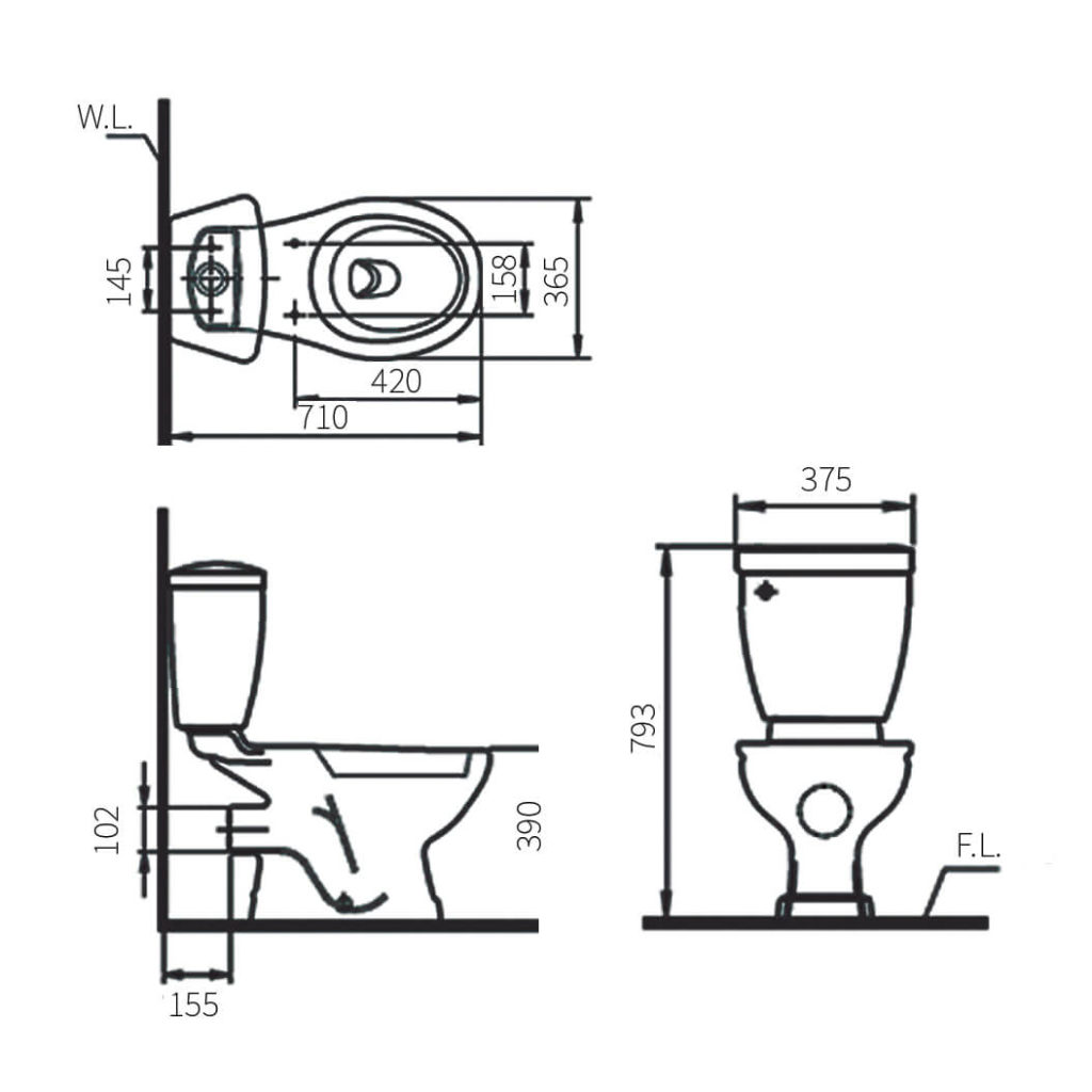 HCG Basic CS3218P AW wall discharge toilet technical drawing