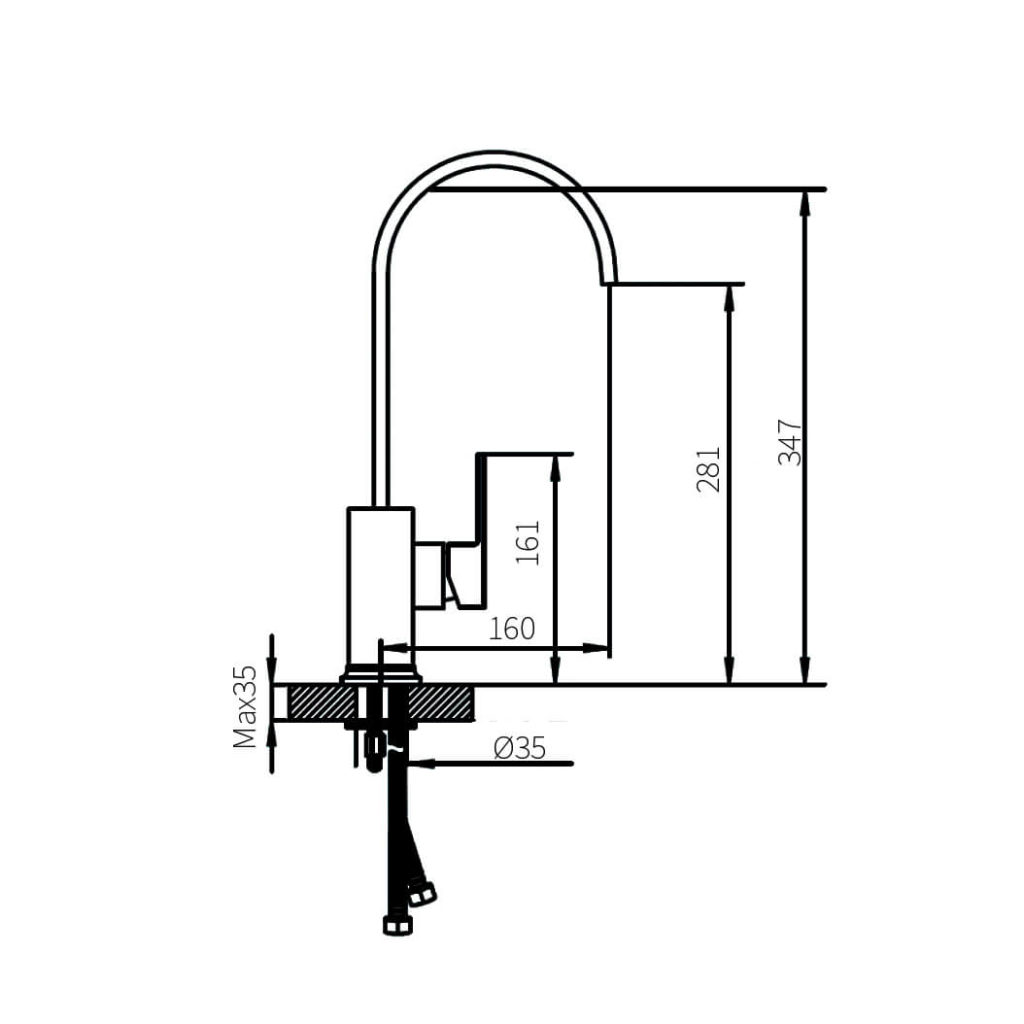 HCG F7 KF7000 kitchen sink faucet technical drawing