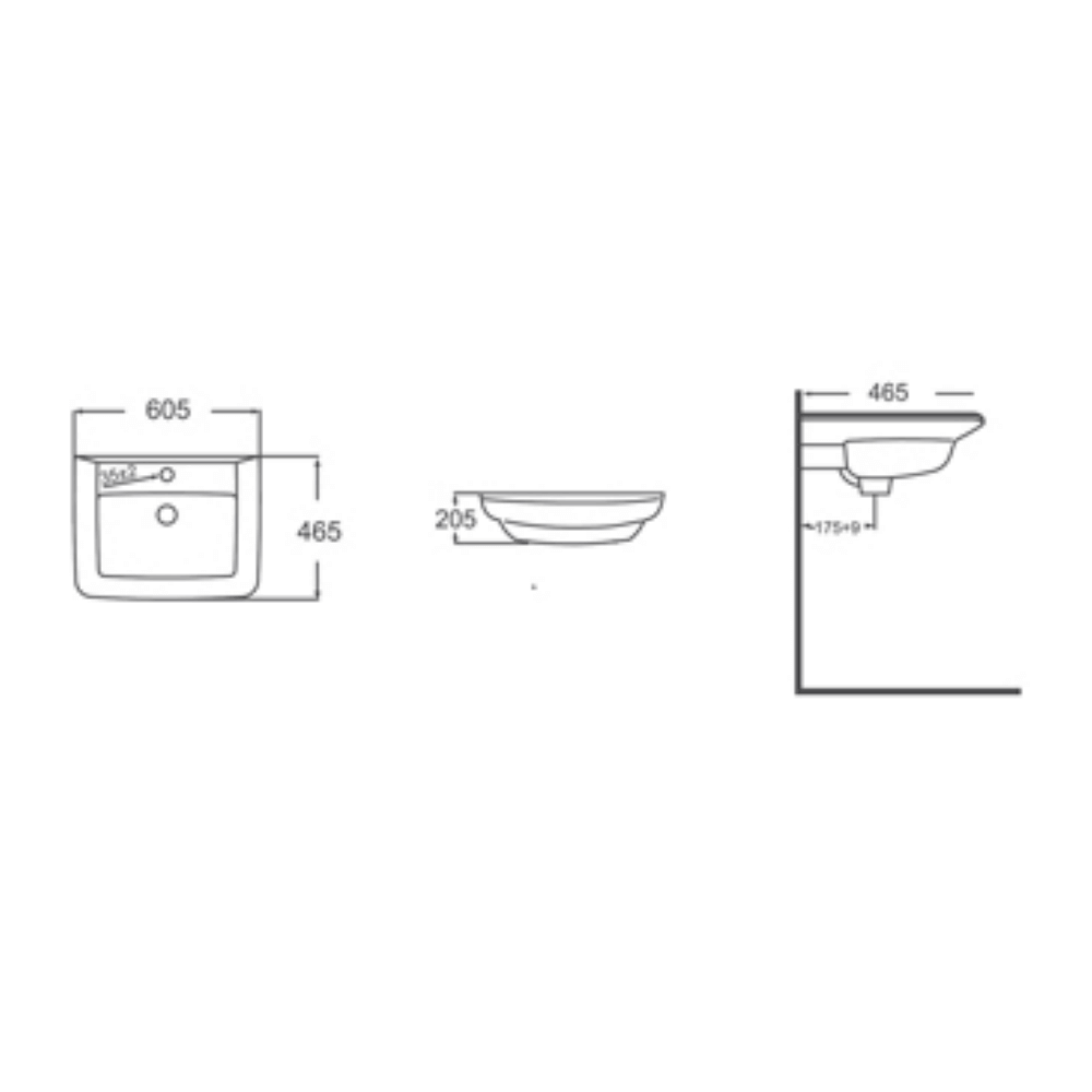 HCG Hilton L90 AW lavatory technical drawing