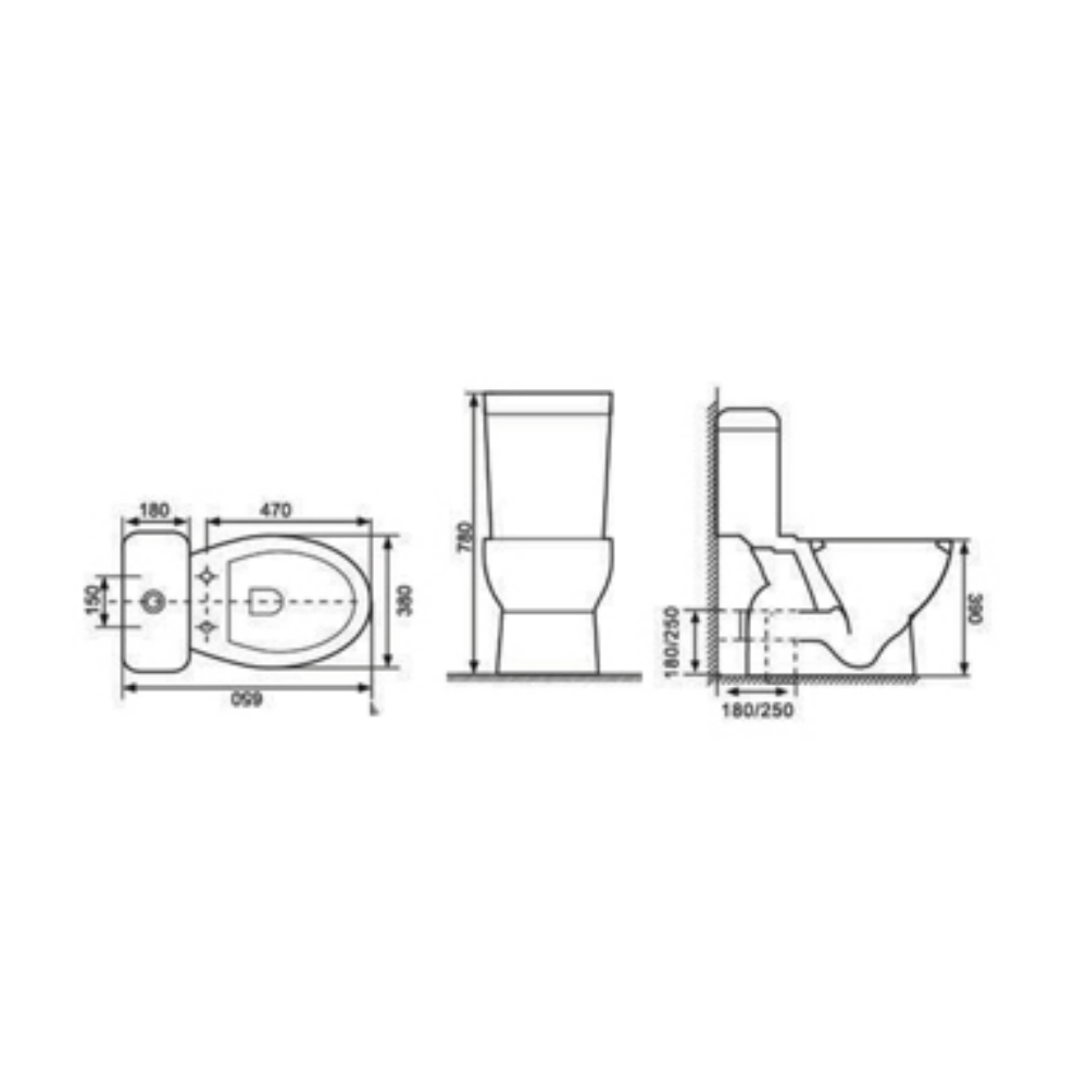 HCG Juno CS1783P AW discharge wall toilet technical drawing