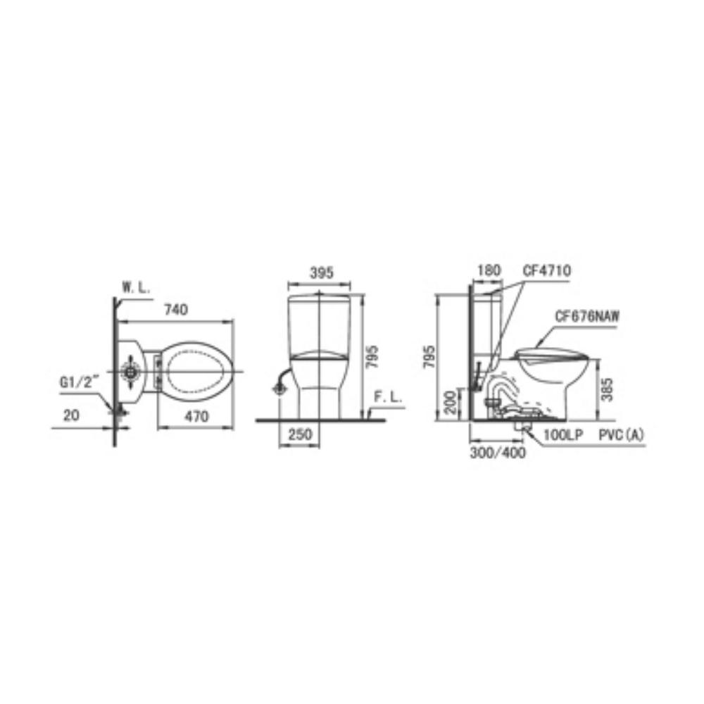 HCG Shangri-la CS4710 AW premium toilet closet technical drawing