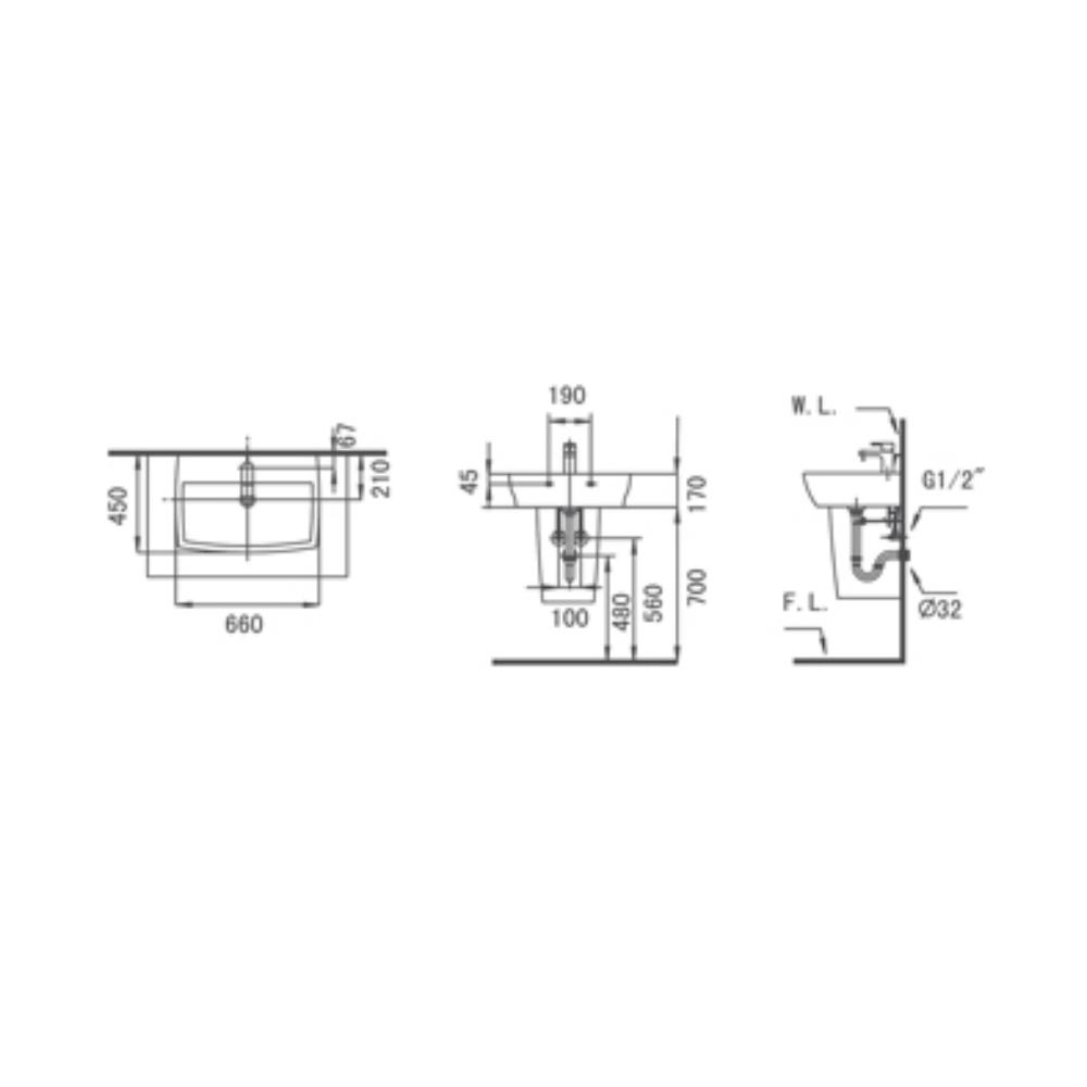 HCG Shangri-la LF4715S short pedestal wash basin technical drawing