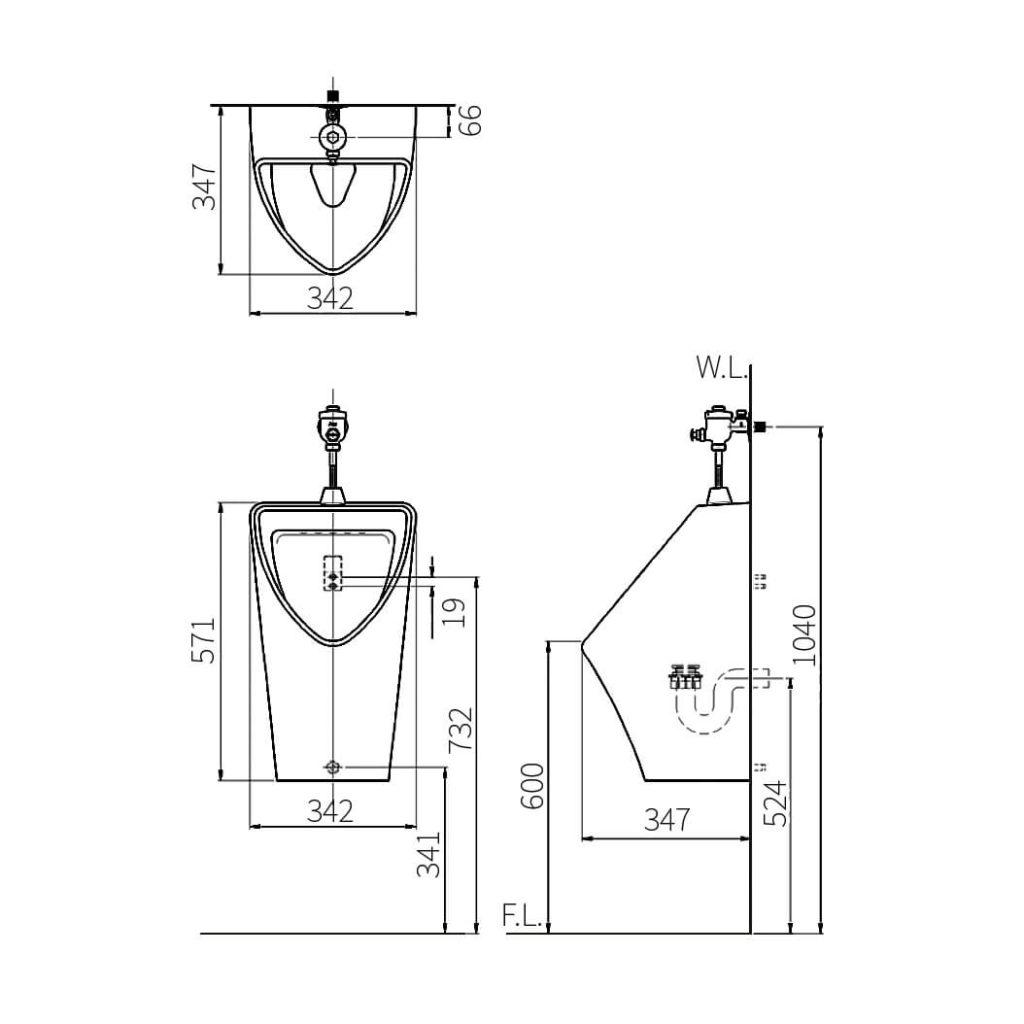 HCG Xeno U11 triangle ceramic urinal technical drawing