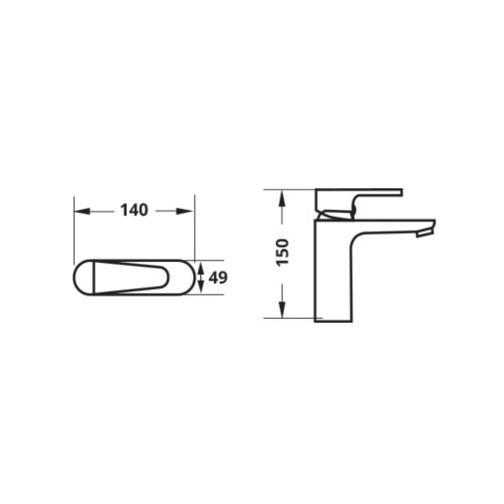 Attiva LF801PX NC wash basin faucet technical drawing