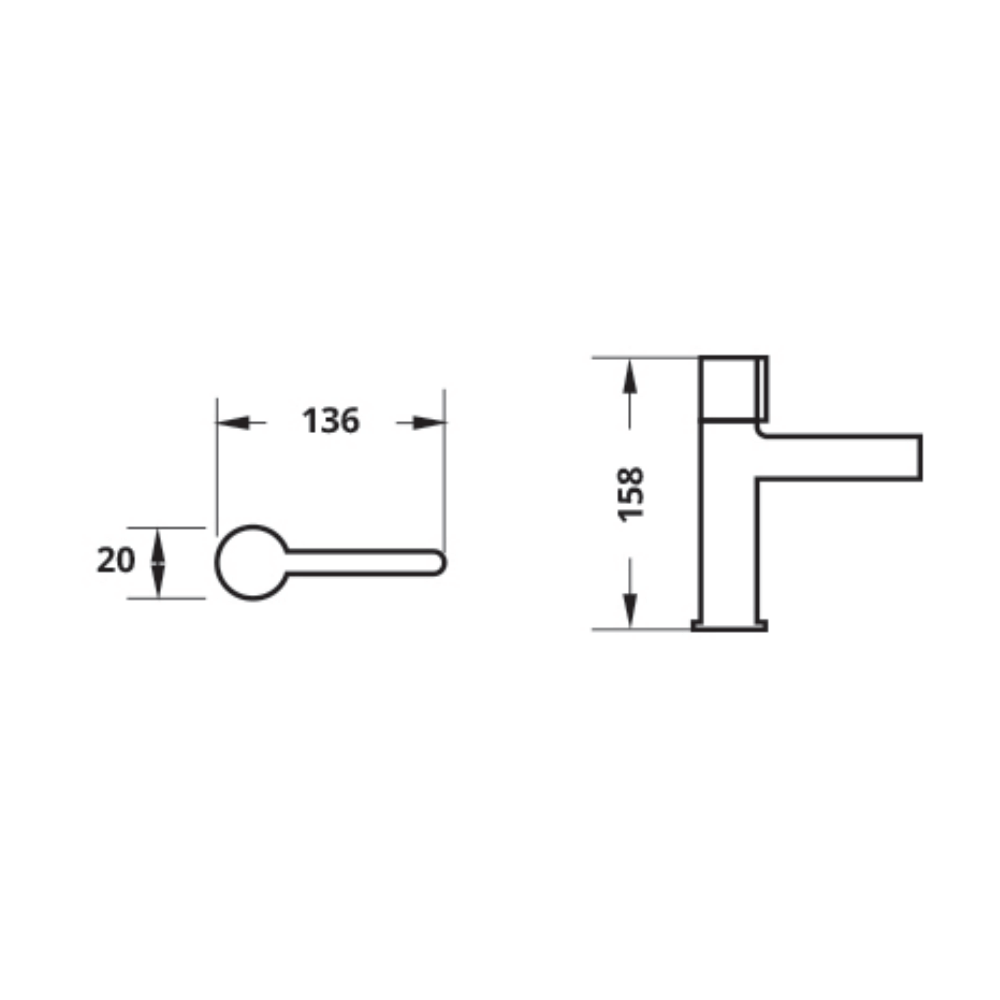 Attiva LF802PX faucet technical drawing