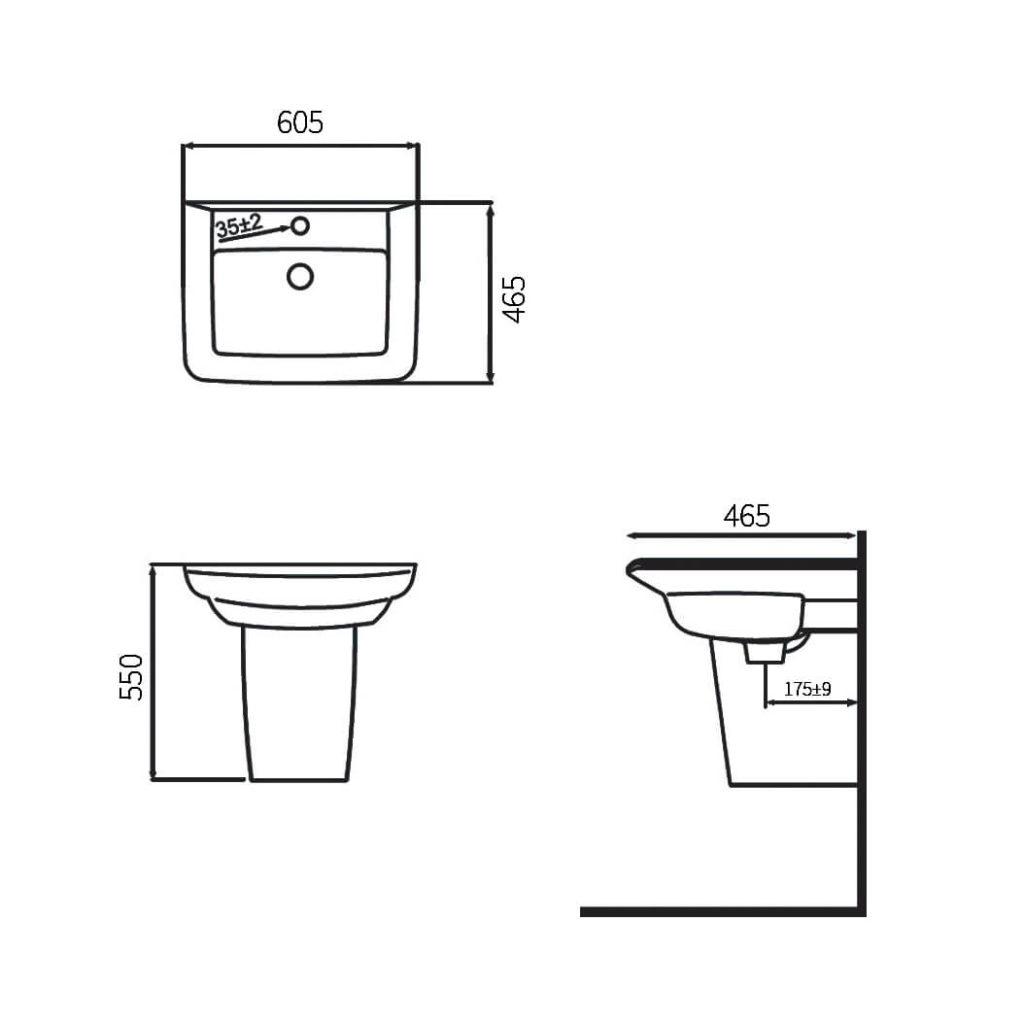 HCG Hilton LF90S hand wash basin
