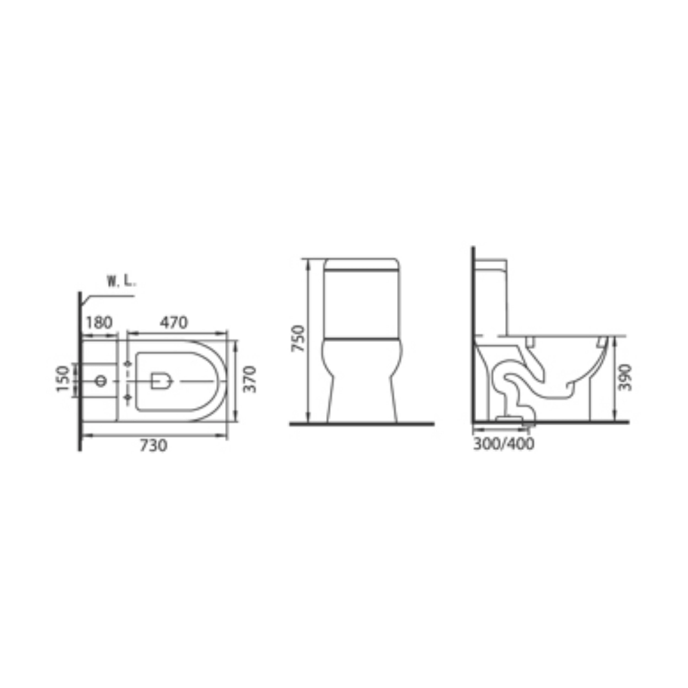 New Pissaro C3123 one-piece toilet technical drawing
