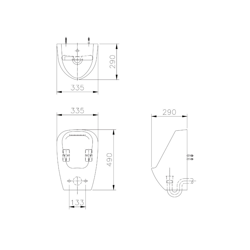 HCG Halley U999 urinal technical drawing